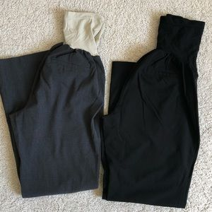 TWO pairs of maternity dress pants black and gray